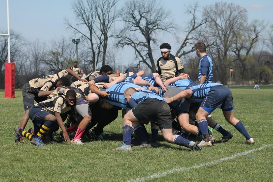 The+Bulls+%28blue%29+and+Noble+%28tan%29+scrummage+during+their+match+at+the+Chicago+Blaze+rugby+pitch+on+April+11.+Credit%3A+Alex+Kimberling