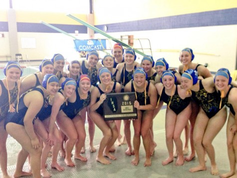 Girls water polo splashes on