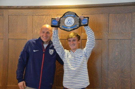 LT soccer player receives PepsiCo Showdown MVP award from USMNT goalie