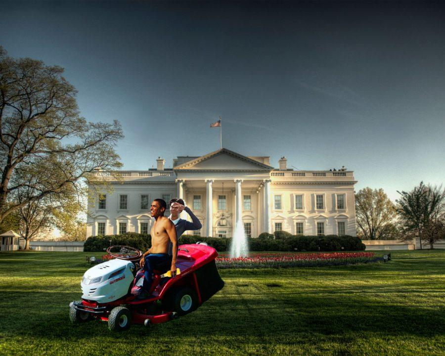 Barack and Michelle Obama exercise their right to the national lawnmower