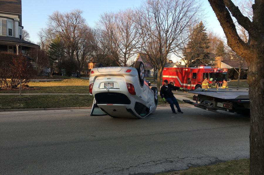 S.U.V. flipped in crash on 7th and Elm