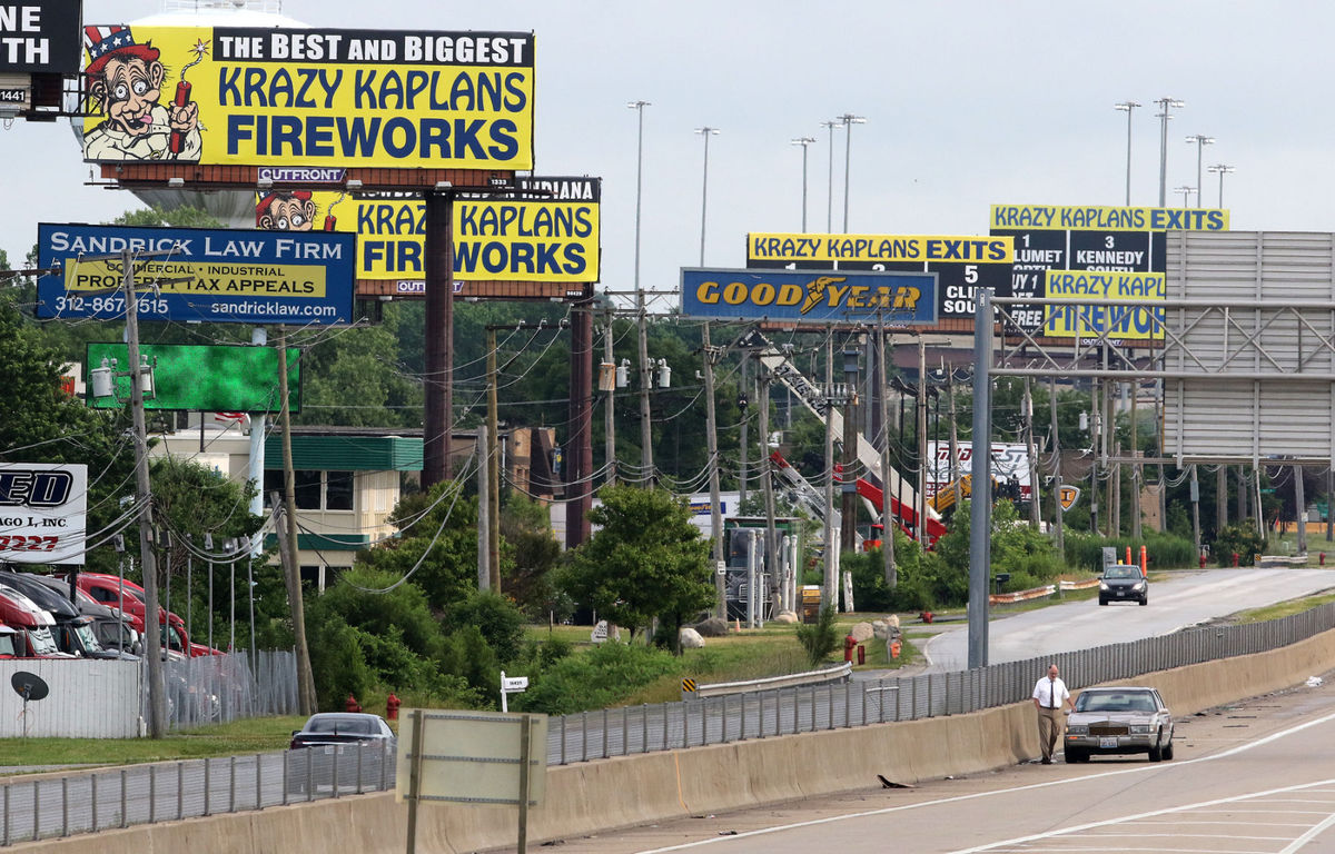 Fireworks billboards overwhelm Illinois highways near the Indiana border.