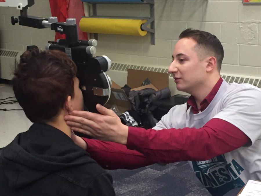 Student receives a free eye examination from the Eagle's Eye Foundation Jan. 29.