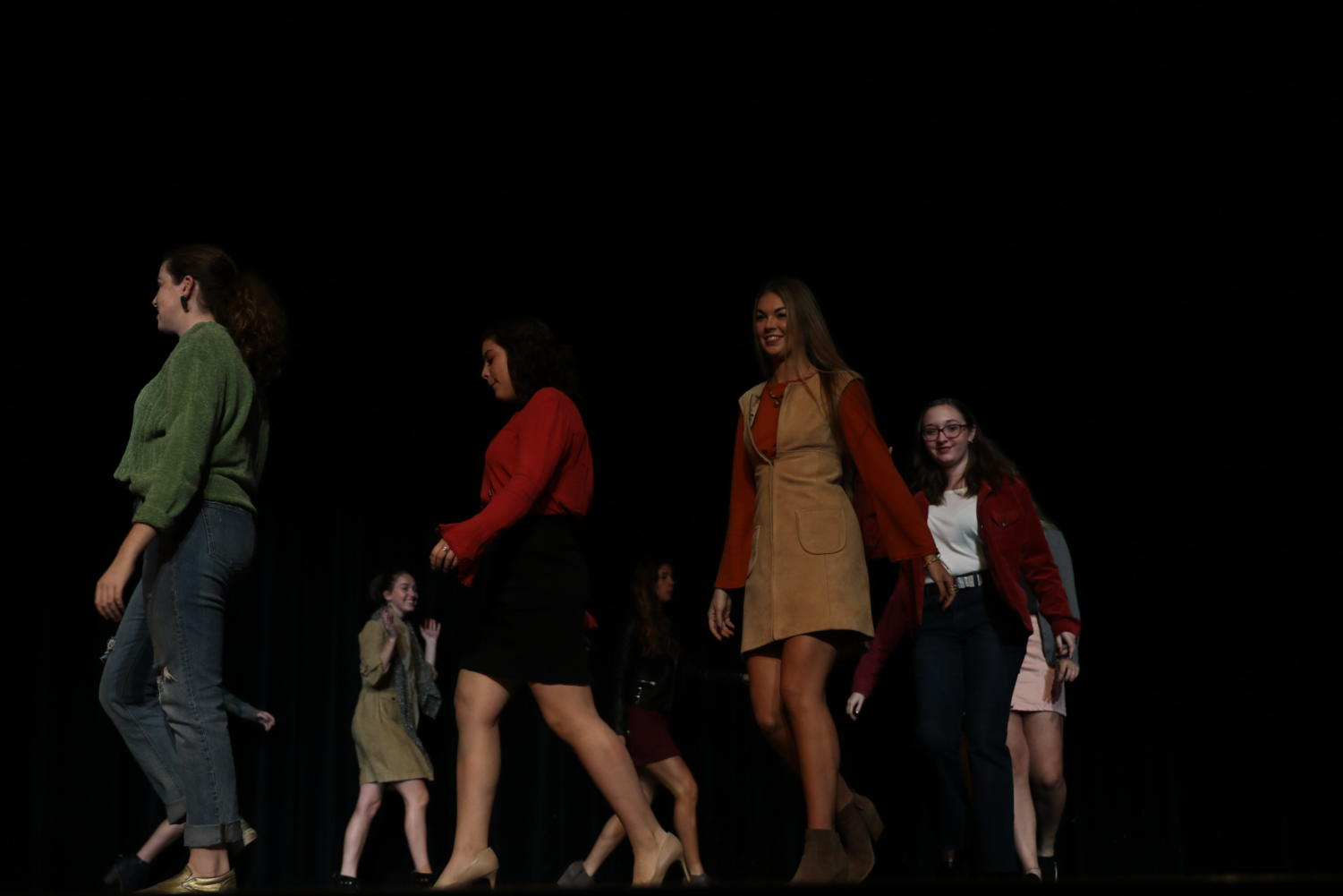 Models show off clothes in the Reber Center (Menna/TAB).