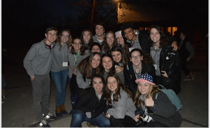 2018+spring+retreat-+class+of+2019+staff+and+theatre+pose+on+their+last+night+at+camp.