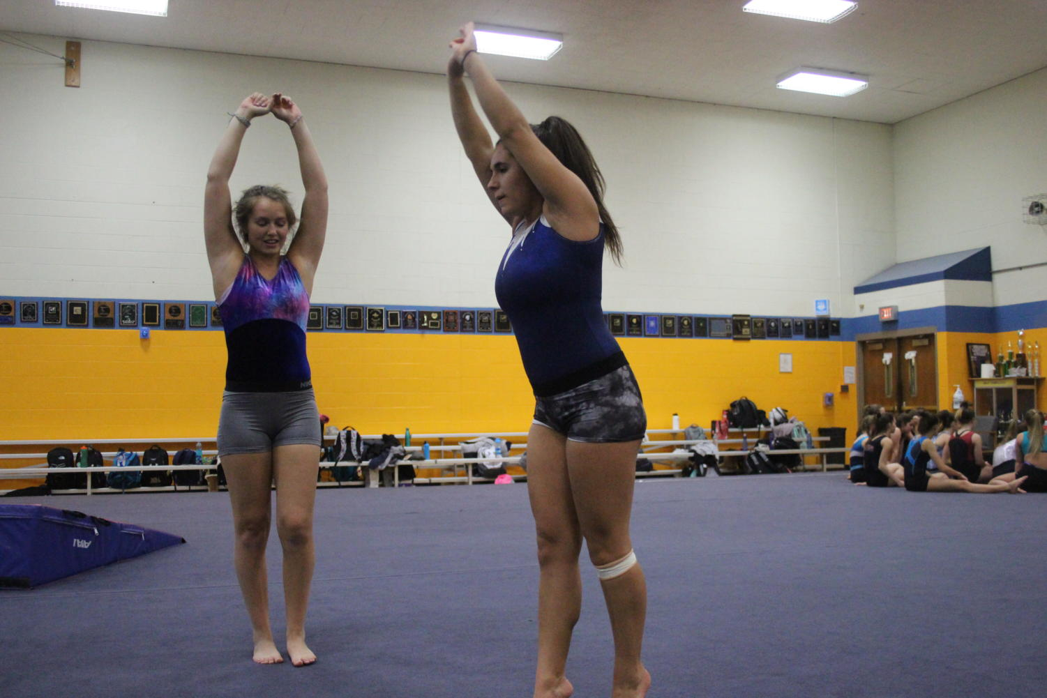 Grace Leonard '19 (left) and Tiffany Trujilo '21 (right) prepare for flips (Klein/LION).