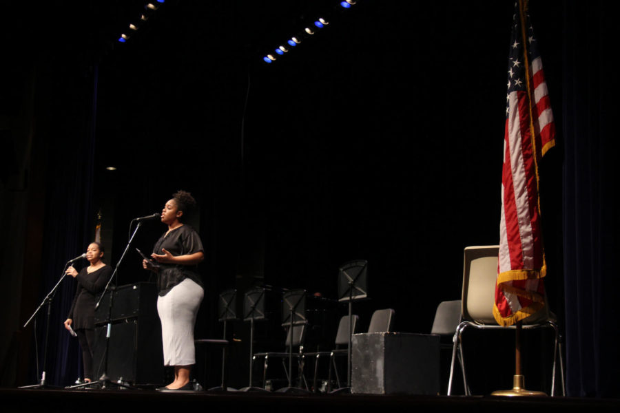 Sisters Anne-Marie Mitchell '20 and Olivia Mitchell '19 perform