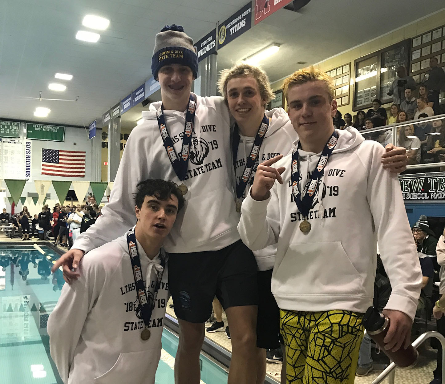 Members of the LT relay celebrate after placing first in state. (Photo courtesy of Donetelli)