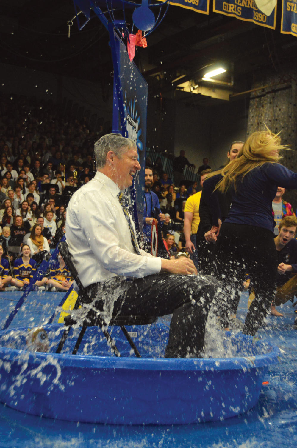 Principal+Dr.+Brian+Waterman+gets+dunked+during+the+All-school+Assembly.