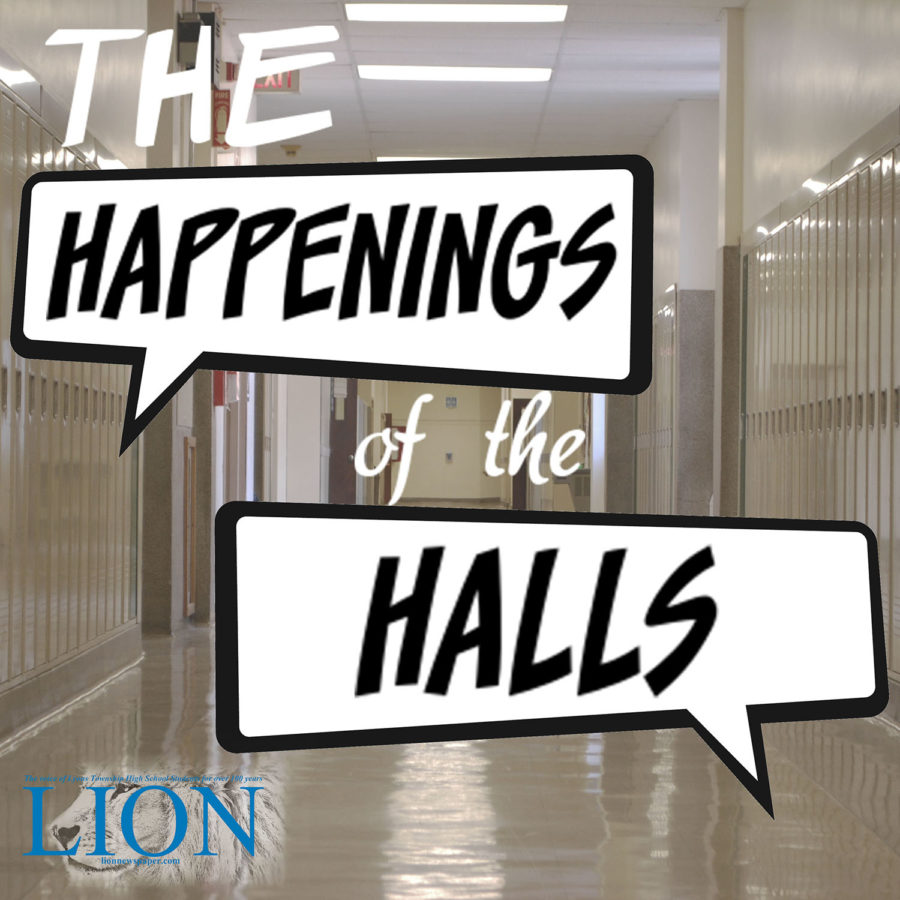 The Happenings of the Halls is the LION's public affairs news podcast. (logo by Pilar Valdes)