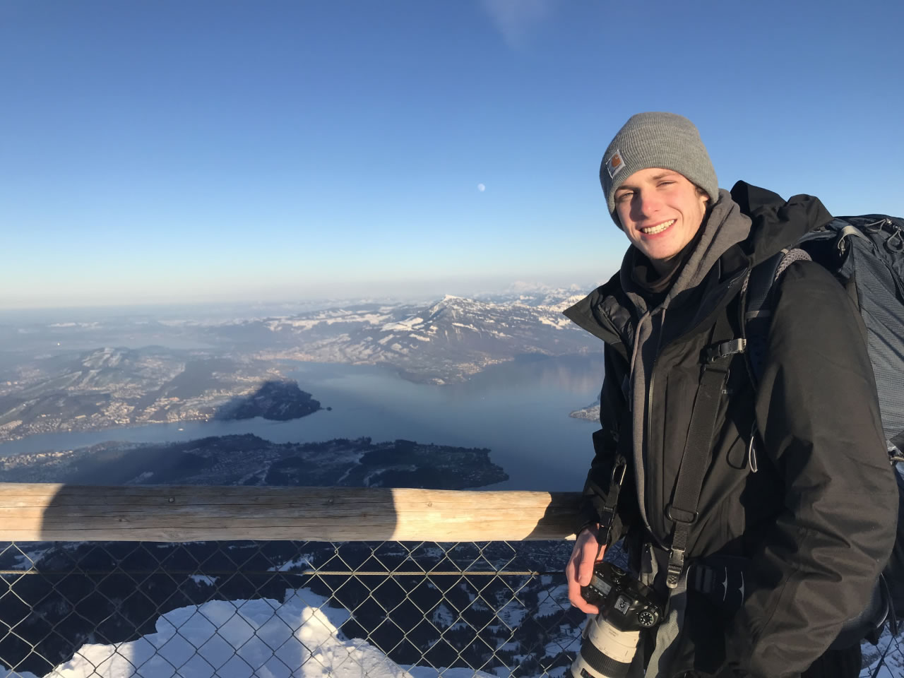 Kyle Niego '19 poses in front of Mt. Pilatus in Switzerland during his time abroad (Niego).