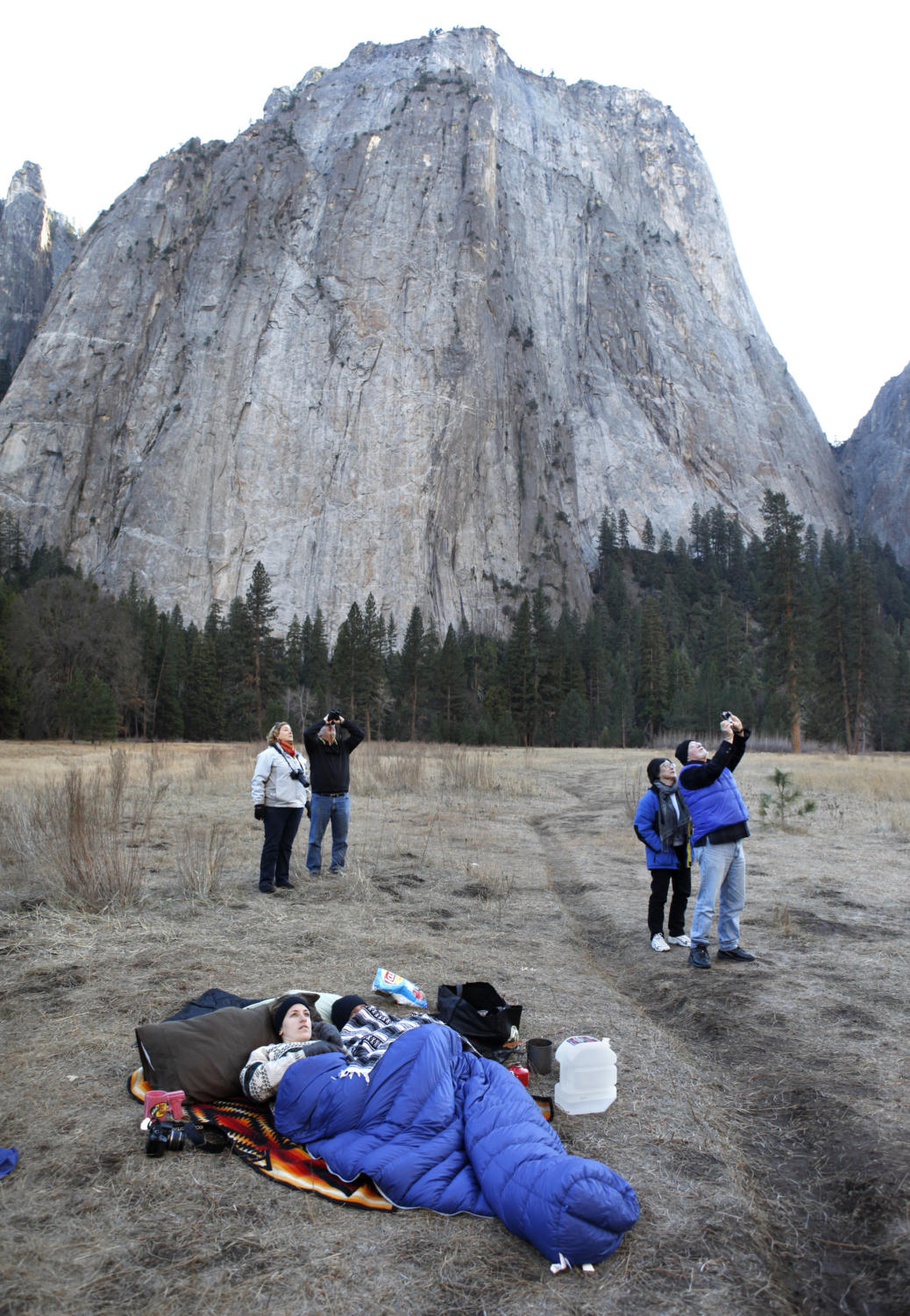 Onlookers watch climbers Kevin Jorgeson and Tommy Caldwell as they attempt to ascend the Dawn Wall of El Capitan on Jan. 13, 2015 in Yosemite National Park, Calif., which is the event on which the documentary is based (Patrick Tehan/Tribune News Service).