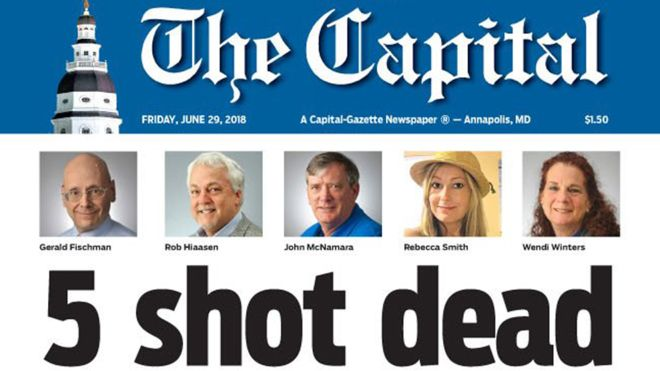 Capital+Gazette%27s+coverage+of+the+shooting+in+their+own+newsroom.