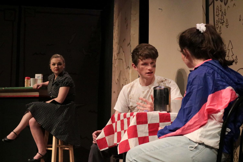 Elaine Tracy '19, Chris O'Neill '19, and Hannah Race '22 perform in