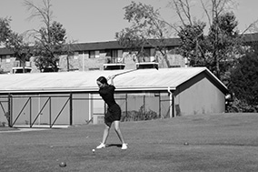 Anne Charlotte '21 in her backswing as she practices her drives at Green Meadows (Joyner/LION)