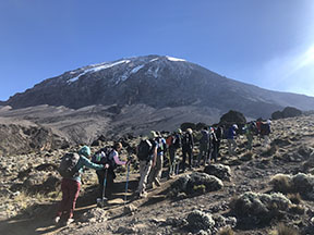 Morkin and the group pass an elevation of 15,000 feet and start their hike on day five (Grace Morkin).