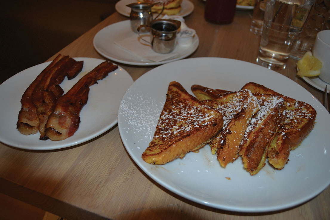 Candied french toast and a side of bacon (Bonfiglio/LION).