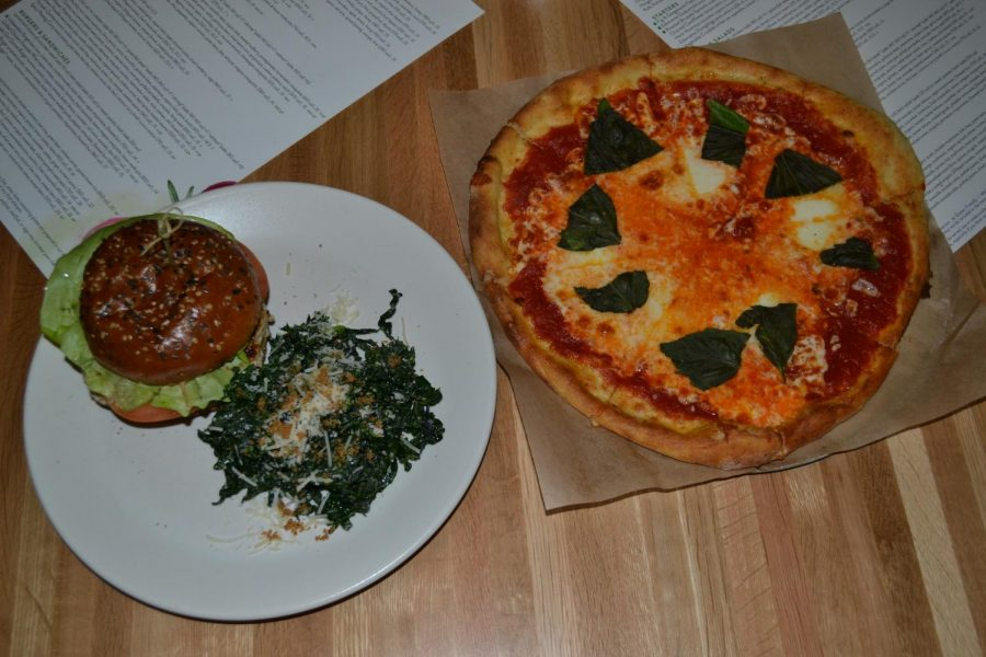 Margarita pizza and turkey burger from True Food Kitchen (Sullivan/LION).