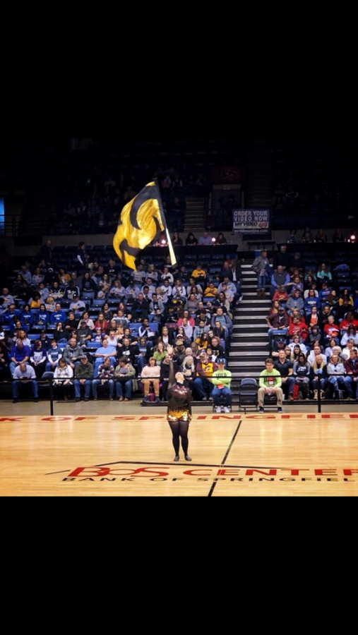 Kaila+Baker+%2720+preforms+her+solo+routine+at+the+Illinois+Drill+Team+Association+state+finals+on+Feb.+15+%28photo+courtesy+of+Baker%29.+Her+dance+routine+placed+second+at+the+competition.