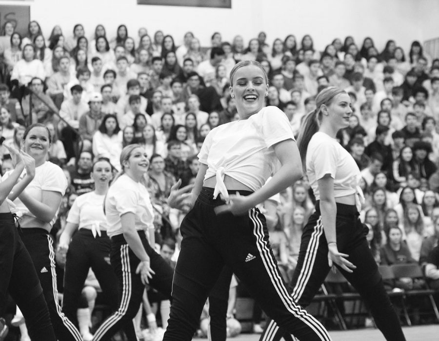 Poms dancers preform at All-school Assembly on Jan.24 in the NC fieldhouse (Sorice/Lions).