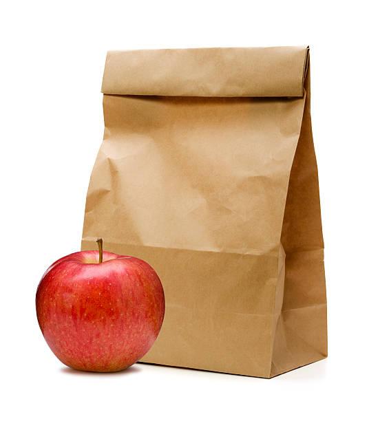 Brown bag and apple (Behringer-Crawford Museum)