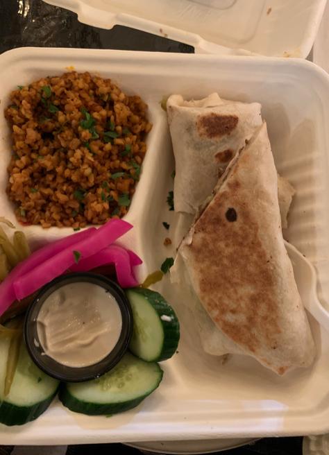 The falafel wrap with a side of bulgur Williams/LION