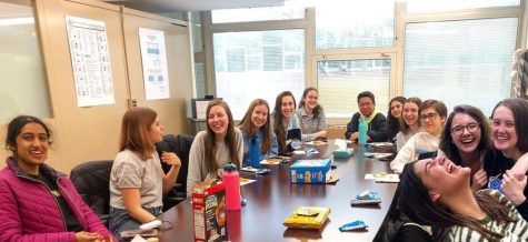 Menagerie members meet after school to prepare working on designs (photo courtesy of Maffey).