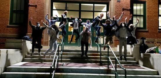 Debate Team poses in front of North Campus after Friday competition (photo courtesy of Mahoney)