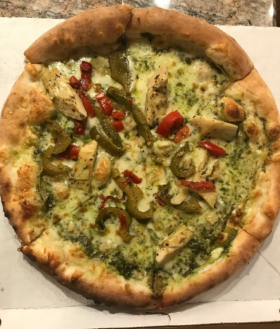Artichoke pesto with grilled peppers pizza (photo by Brooke Chomko/LION)