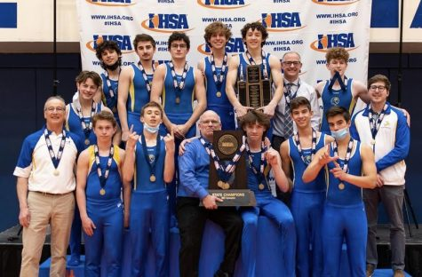 Boys Gymnastics Team poses with State Trophy (Photo courtesy of Bill Stone)