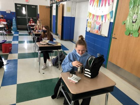 Students engage in a socially distanced lunch period (phot courtesy of Dave Palzet).