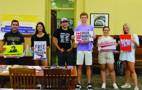 TPUSA club members and their president Leslie Mendoza 22 (second from left) at their first meeting held on Sept. 7 (Mahaney/LION).